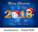 happy new year 2018 with... | Shutterstock .eps vector #766667830