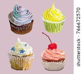 appetizing cute pixel cupcakes... | Shutterstock .eps vector #766672570