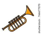 trumpet music instrument | Shutterstock .eps vector #766677070