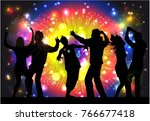 dancing people silhouettes.... | Shutterstock .eps vector #766677418
