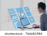 businessman working with... | Shutterstock . vector #766681984