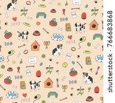 pet shop animals cute cartoon... | Shutterstock .eps vector #766683868