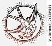 hand drawn flying swallow bird... | Shutterstock .eps vector #766684858
