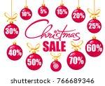 christmas sale poster. discount ... | Shutterstock .eps vector #766689346
