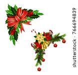 christmas decoration with bow | Shutterstock .eps vector #766694839