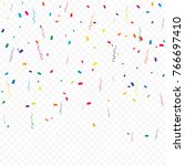 colorful confetti and ribbon... | Shutterstock .eps vector #766697410
