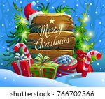 christmas wood board for text... | Shutterstock .eps vector #766702366