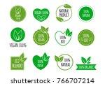 set of bio healthy food badges. ... | Shutterstock .eps vector #766707214