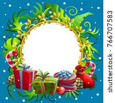 christmas and new year... | Shutterstock .eps vector #766707583