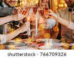 friends celebrating christmas... | Shutterstock . vector #766709326