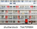 facade of social housing block... | Shutterstock . vector #766709884