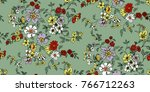 seamless floral pattern in... | Shutterstock .eps vector #766712263