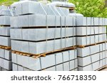 many curbs for construction... | Shutterstock . vector #766718350
