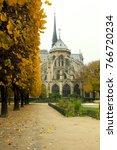 Small photo of Prosaic sad view of Notre Dame de Paris, back side