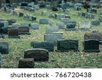 Back Of Gravestones In A Old...