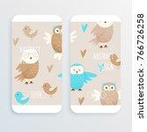 cute owl  hand drawn design... | Shutterstock .eps vector #766726258