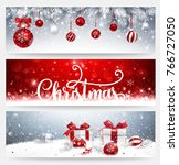 christmas banners set with fir... | Shutterstock .eps vector #766727050