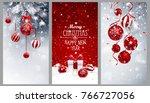christmas banners set with fir...   Shutterstock .eps vector #766727056