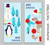 christmas card with snowman ... | Shutterstock .eps vector #766727863