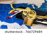knotted net cable around a... | Shutterstock . vector #766729684