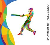 abstract cricket player vector... | Shutterstock .eps vector #766732300