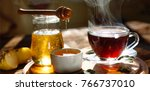 natural bee honey with morning... | Shutterstock . vector #766737010
