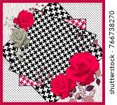 rose flowers pattern.silk scarf ... | Shutterstock . vector #766738270