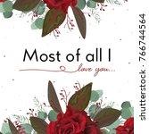 vector floral card design ... | Shutterstock .eps vector #766744564