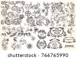 huge set  of vector decorative... | Shutterstock .eps vector #766765990