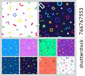 set of abstract geometric... | Shutterstock .eps vector #766767553