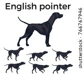 set of vector pointer dog.... | Shutterstock .eps vector #766767946
