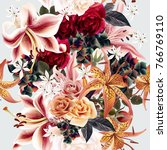 floral pattern with roses and... | Shutterstock .eps vector #766769110