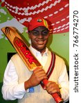 Small photo of London, - United Kingdom, 08, July 2014. Madame Tussauds in London. Waxwork statue of Brian Charles Lara, Created by Madam Tussauds in 1884, Madam Tussauds is a waxwork museum and tourist attraction