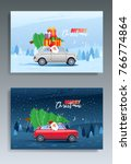 merry christmas winter... | Shutterstock .eps vector #766774864