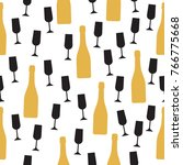 seamless pattern with champagne ... | Shutterstock .eps vector #766775668