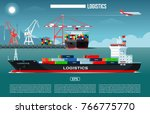 cargo sea port with cargo... | Shutterstock .eps vector #766775770