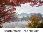 autumn kinrin ko lake in yufuin ...   Shutterstock . vector #766781989