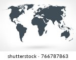 gray world map vector. vector... | Shutterstock .eps vector #766787863