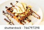 sweet dessert chocolate waffle... | Shutterstock . vector #766797298