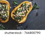 stuffed butternut squash with... | Shutterstock . vector #766800790