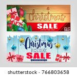 christmas sale banners set with ... | Shutterstock .eps vector #766803658