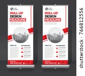 roll up banner stand template... | Shutterstock .eps vector #766812556
