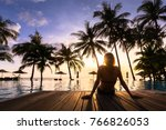 woman enjoying vacation... | Shutterstock . vector #766826053