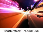 car on the road with motion... | Shutterstock . vector #766831258