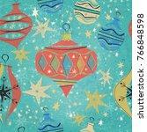 seamless vintage christmas... | Shutterstock .eps vector #766848598