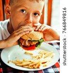 little cute boy 6 years old... | Shutterstock . vector #766849816