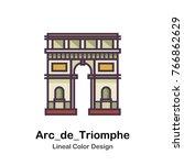 a triumphal arch in paris ... | Shutterstock .eps vector #766862629