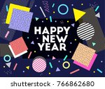 happy new year. text. vector... | Shutterstock .eps vector #766862680