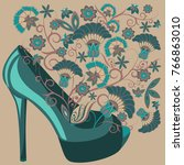 women's shoes with flowers | Shutterstock .eps vector #766863010