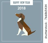 happy new year 2018 greeting... | Shutterstock .eps vector #766865434